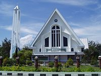 A Protestant church in Indonesia. Indonesia has the largest Protestant population in Southeast Asia.