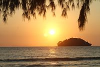 Along with its temples Cambodia has been promoting its coastal resorts. Island off Otres Beach Sihanoukville, Cambodia
