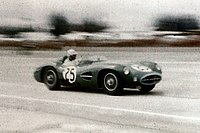 Shelby racing an Aston Martin DBR1/300 at the 12 Hours of Sebring in 1958.