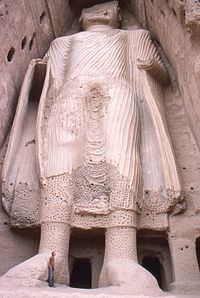 The smaller Buddha of Bamiyan. Buddhism was widespread in the region before the Islamic conquest of Afghanistan.