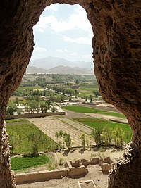 Overview of area in Bamyan, from Buddha statues