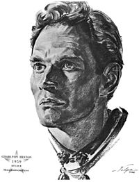 Drawing of Heston after he won an Oscar for Ben-Hur in 1959 (artist: Nicholas Volpe)