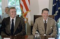 Heston with President Ronald Reagan during a meeting for the Presidential Task Force on the Arts and Humanities in the White House Cabinet Room in 1981