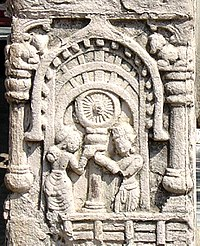 Adoration of the wheel of the Law (plaster copy).