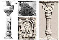 Reconstitution of the Sunga period pillars at Bodh Gaya, from archaeology (left) and from artistic relief (right). They are dated to the 1st century BCE. Reconstitution done by Alexander Cunningham.
