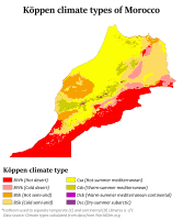 Köppen climate types in Morocco