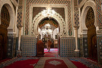 The interior of a mosque in Fes