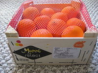 Crate of clementine (mandarin) oranges from Morocco.