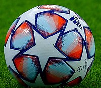 The Adidas Finale (ball in the 2020–21 season pictured) is the official match ball of the UEFA Champions League