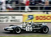 Piers Courage on his way to 5th place in the 1969 British Grand Prix, aboard Frank Williams Racing Cars's Brabham-Cosworth BT26A