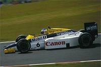 Keke Rosberg driving the Williams FW10 at the 1985 German Grand Prix. Rosberg lapped Silverstone at over 160mph, during qualifying for the 1985 British Grand Prix