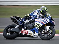 Cal Crutchlow on his way to a double win, in the 2010 World Superbike event