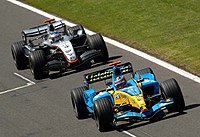 Fernando Alonso during the 2005 British Grand Prix in his Renault