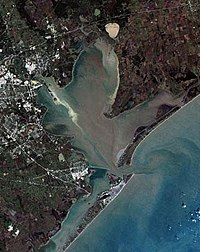 A simulated-color image of Galveston Bay