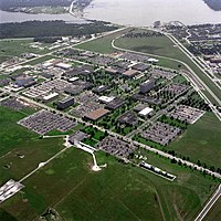 Aerial view of the NASA's Johnson Space Center with Clear Lake in the background
