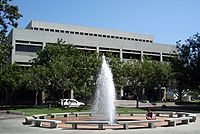 The Law School building is one of the handful of examples of Brutalist architecture on the main campus.