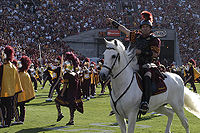 USC mascot Traveler with Trojan Warrior and The Spirit of Troy