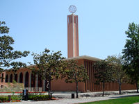 The Center for International and Public Affairs, topped by a 5500 lb globe, is the tallest structure on campus. Built under the second master plan, it reflects a trend towards modernism during that period.