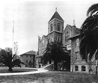 """The first true library was housed in the College of Liberal Arts Building (""""Old College""""), which opened in 1887 and was designed to hold the entire USC College student body—55 students. Two wings were added to the original building in 1905."""