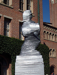 During the week prior to the traditional USC-UCLA rivalry football game, the Tommy Trojan statue is covered to prevent UCLA vandalism.