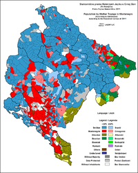 Linguistic structure of Montenegro by settlements, 2011.