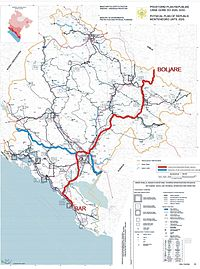 Roads of Montenegro in service and two planned: red – Bar–Boljare highway, blue – Adriatic–Ionian motorway