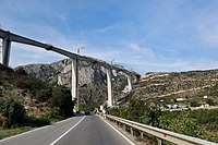 Moračica Bridge is the highest bridge in the Western Balkans and it is the part of the future Bar-Boljare highway, September 2019
