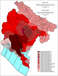 Expansion of Montenegro from 1711 to 1918