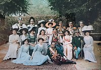 Royal family of Montenegro: King Nicholas I with his wife, sons, daughters, grandchildren and sons- and daughters-in-law