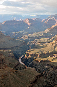 Colorado River in the Grand Canyon seen from Pima Point, near Hermit's Rest