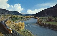 The river in western Colorado, with the California Zephyr running alongside