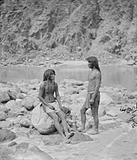 Two Mohave warriors beside the Colorado River in 1871