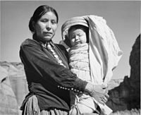 Navajo woman and child, photographed by Ansel Adams, c. 1944