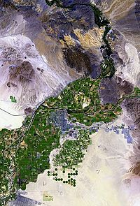 Satellite view of the Colorado River valley near Yuma, Arizona; interstate 8 runs from left to right just below center.