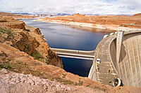 Glen Canyon Dam (right) forms Lake Powell, the second-largest reservoir on the Colorado River with a capacity of more than 24.3 e6acre.ft.