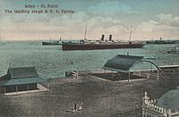Port of Aden (around 1910). Ships lying off Steamer Point at the entrance to the modern inner harbour.