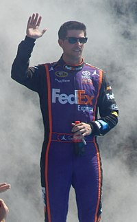 Denny Hamlin, seen here at the 2015 Daytona 500, scored his 26th career victory at Chicagoland Speedway.