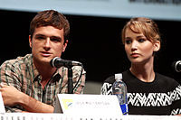Hutcherson with co-star Jennifer Lawrence at the 2013 San Diego Comic-Con International promoting The Hunger Games: Catching Fire