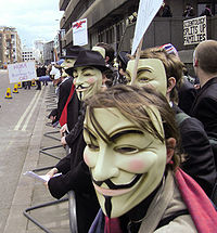 Protesters wearing Guy Fawkes masks at a protest against Scientology in London in 2008