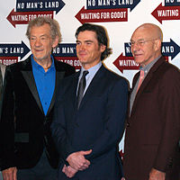 McKellen with actors Billy Crudup and Patrick Stewart on 24 September 2013 for a press junket at Sardi's restaurant for Waiting for Godot and No Man's Land