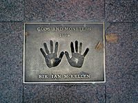 The hands of McKellen on a 1999 Gods and Monsters plaque in London's Leicester Square