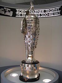 The Borg-Warner Trophy, presented to the Indy 500 winners in victory lane, and kept the rest of the year on permanent display at the Hall of Fame Museum.