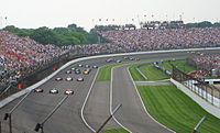 The starting field of the 2007 Indianapolis 500 in formation before the start