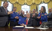 Cruz and President Donald Trump, after signing the NASA Transition Authorization Act of 2017