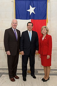 Cruz in 2012 with his predecessor-to-be (Sen. Hutchison at right) and his future fellow senator from Texas (Sen. Cornyn at left)