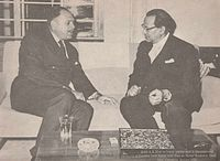 President Ayub Khan (left) with Bengali industrialist Abul Kashem Khan (right) in Chittagong