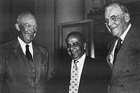 Suhrawardy (middle) with US President Dwight D. Eisenhower and Secretary of State John Foster Dulles