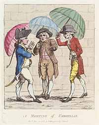 At the time of the picture, the sight of an able-bodied adult male carrying an umbrella for himself in a city or town still had some of the connotations of excessive dandyism or effeminacy that it had earlier in the 18th century.