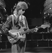 """Bowie filming a video for """"Rebel Rebel"""" in 1974"""