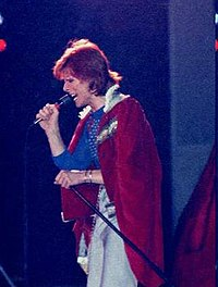 Bowie performing during Diamond Dogs Tour, 1974